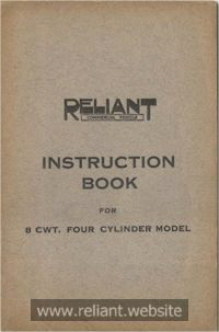 1938 Reliant 8cwt Instruction Book