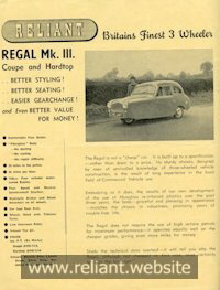Reliant Regal Mk III brochure