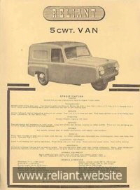 Reliant Regal Mk II brochure