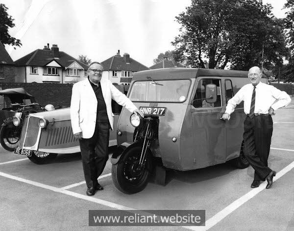 E.S. Thompson (left) and Bill Taylor with a Reliant Regent
