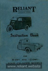 Reliant Instruction Book 1940s