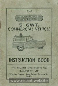 Reliant Instruction Book 1950s