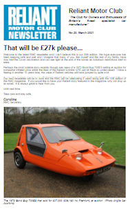 Reliant Motor Club Newsletter