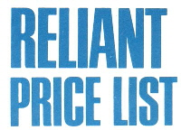 Reliant Price List
