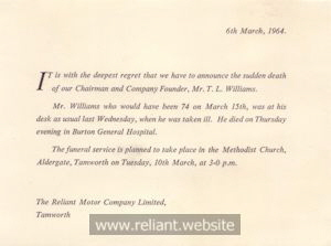 Reliant Death Announcement of T.L. Williams